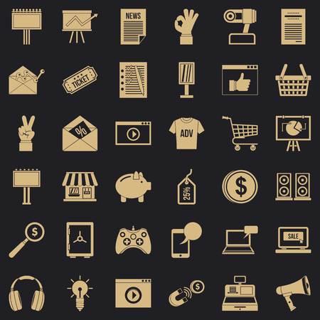 Website icons set, simple style Ilustração