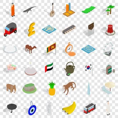 Japan icons set, isometric style Illustration