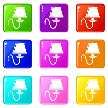 Bracket icons set 9 color collection