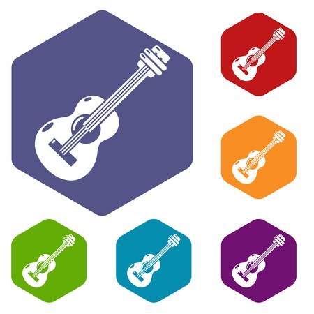 Guitar icons vector colorful hexahedron set collection isolated on white