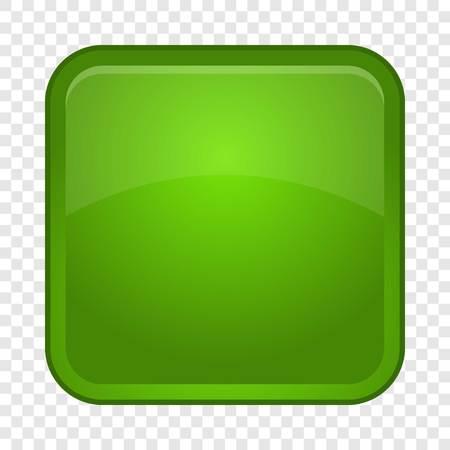 Green button icon, cartoon style Illustration