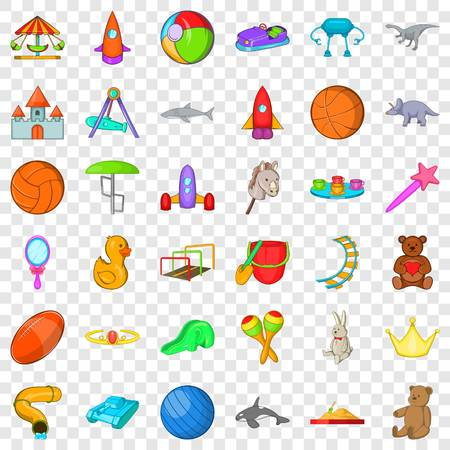 Playground icons set, cartoon style