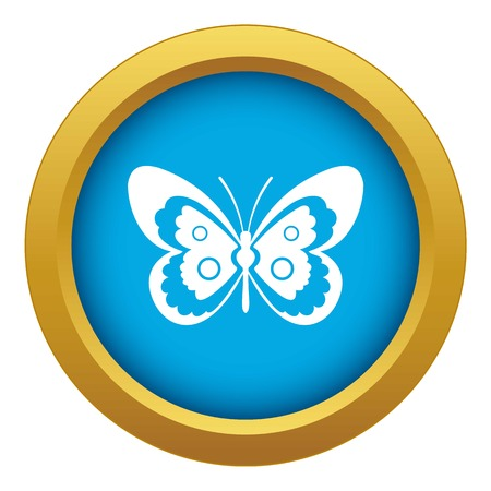 Butterfly icon blue vector isolated on white background for any design