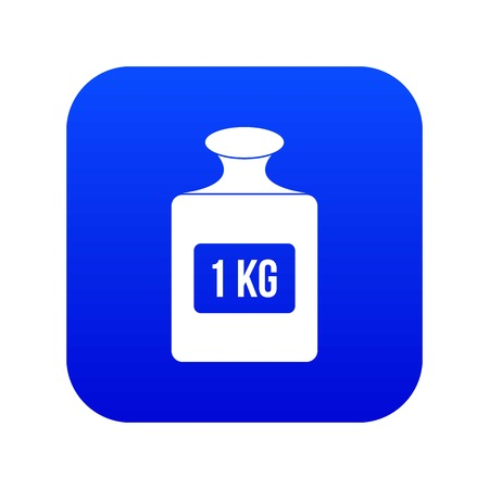 One kilogram weight icon digital blue for any design isolated on white vector illustration Illustration