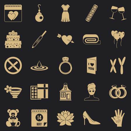 Women day icons set, simple style
