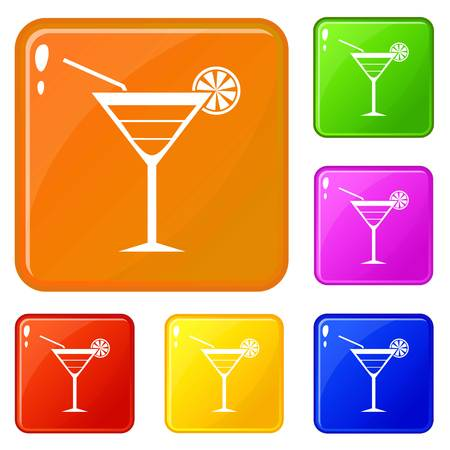 Beach cocktail icons set collection vector 6 color isolated on white background