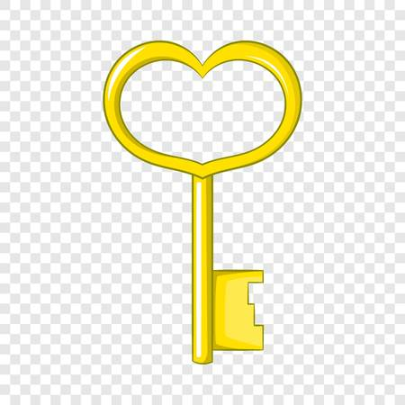 Key in heart shape icon. Cartoon illustration of key in heart shape vector icon for web design