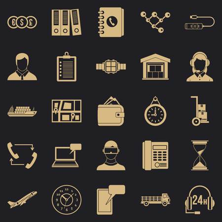 Overtime icons set. Simple set of 25 overtime vector icons for web for any design Illustration