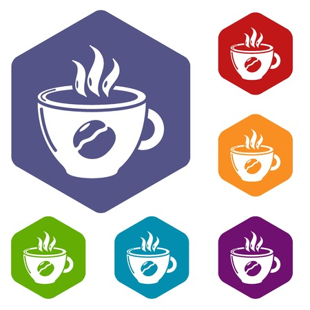 Cup coffee icons vector colorful hexahedron set collection isolated on white