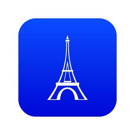 Eiffel tower icon digital blue