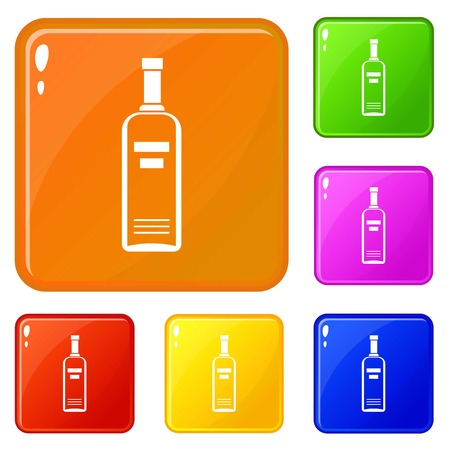 Bottle of vodka icons set collection vector 6 color isolated on white background 向量圖像