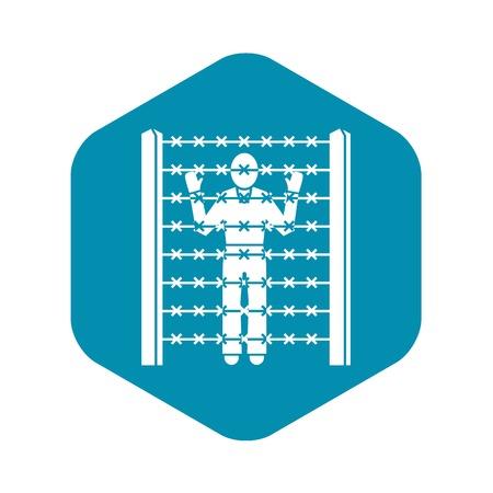 Migrant man at border icon. Simple illustration of migrant man at border vector icon for web design isolated on white background Illustration
