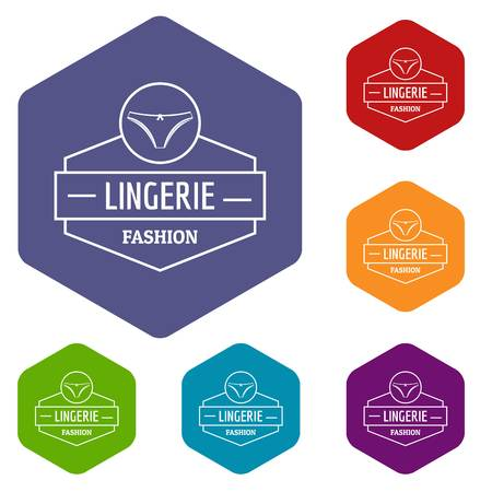 Lingerie female icons vector hexahedron