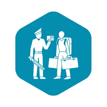 Police man immigration icon, simple style