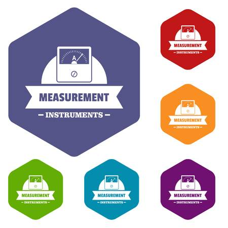 Measurement instrument icons vector hexahedron