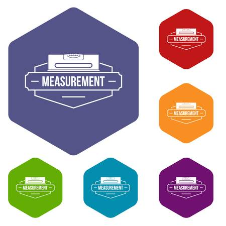 Measurement level icons vector hexahedron