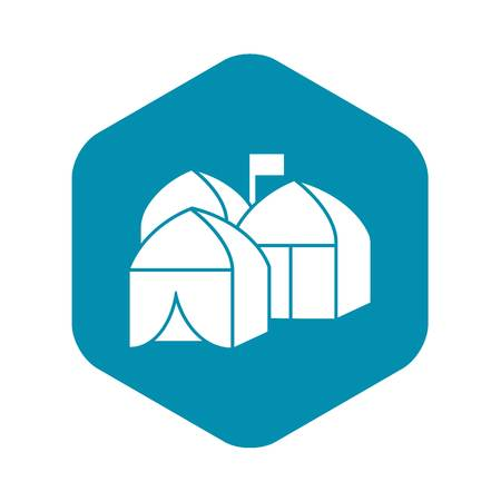 Refugee tent city icon, simple style
