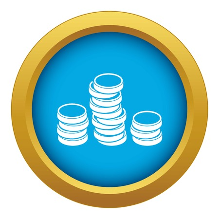 Gold coins icon blue vector isolated