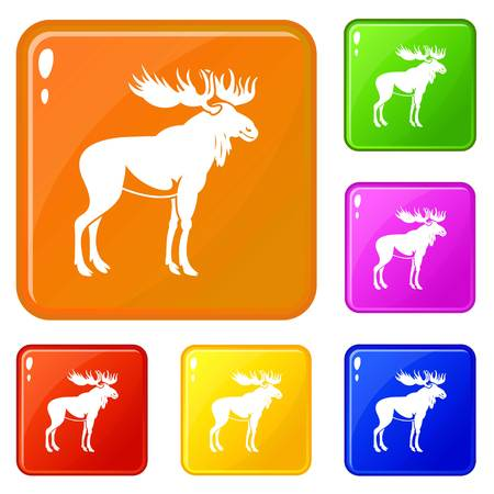 Moose icons set vector color