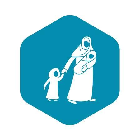 Icône d'enfants de mère réfugiée. Simple illustration de l'icône vecteur enfants réfugiés mère pour la conception web isolé sur fond blanc