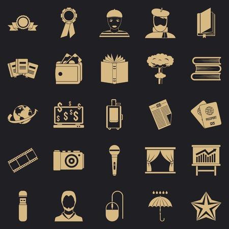 Officeman icons set, simple style Ilustração