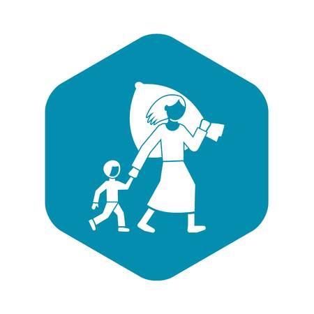 Migrant mother kid icon, simple style