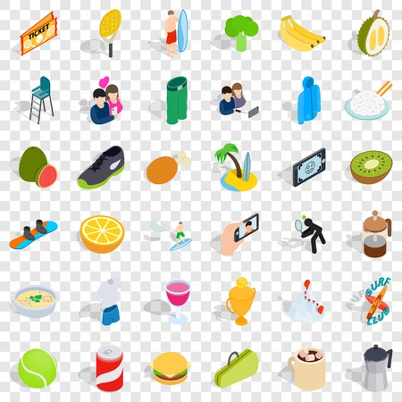 Energetic icons set. Isometric style of 36 energetic vector icons for web for any design