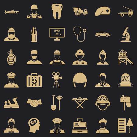 Employment icons set. Simple style of 36 employment vector icons for web for any design Ilustrace
