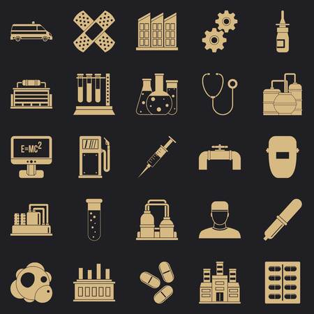 Processing plant icons set. Simple set of 25 processing plant vector icons for web for any design