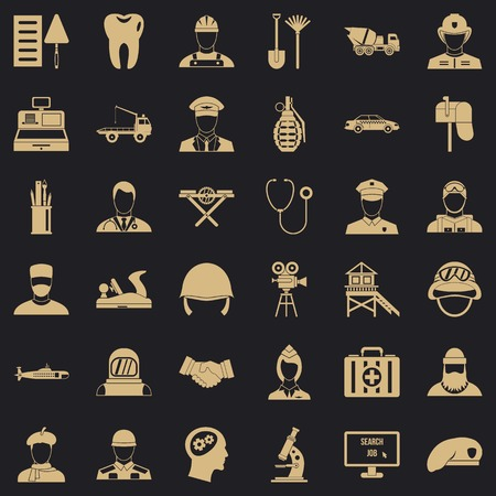 Job icons set. Simple style of 36 job vector icons for web for any design