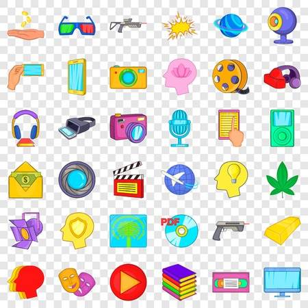Game over icons set. Cartoon style of 36 game over vector icons for web for any design