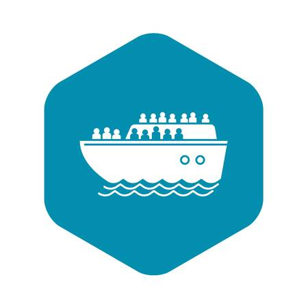 Migrant ship icon. Simple illustration of migrant ship vector icon for web design isolated on white background