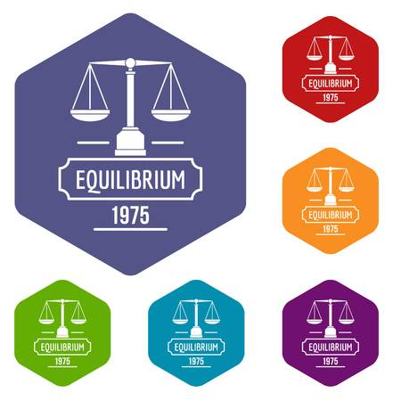 Equilibrium icons vector colorful hexahedron set collection isolated on white Illustration