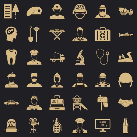 Job search icons set. Simple style of 36 job search vector icons for web for any design