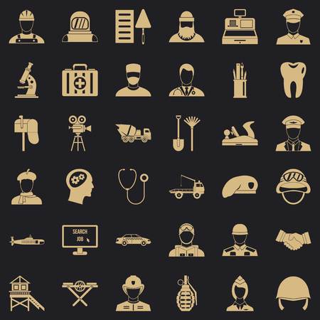 Working icons set. Simple style of 36 working vector icons for web for any design