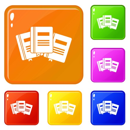 Three books with bookmarks icons set collection vector 6 color isolated on white background Banque d'images - 125064223