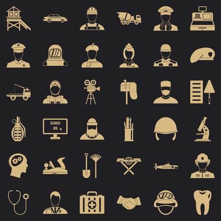Recruitment icons set, simple style Ilustrace