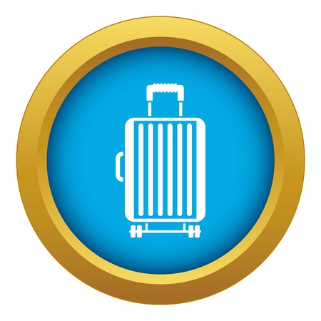 Suitcase on wheels icon blue vector isolated