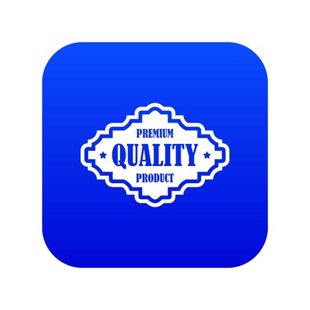 Premium quality product label icon digital blue for any design isolated on white vector illustration Stock Illustratie