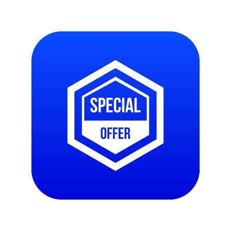 Special offer pentagon icon digital blue for any design isolated on white vector illustration Stock Illustratie