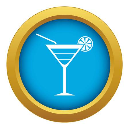 Beach cocktail icon blue vector isolated on white background for any design