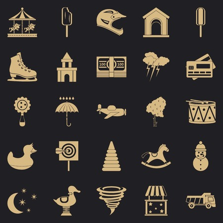 Childrens park icons set. Simple set of 25 childrens park vector icons for web for any design