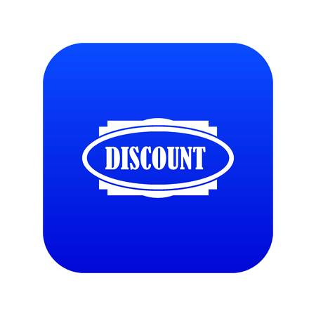 Discount oval label icon digital blue for any design isolated on white vector illustration Stock Illustratie