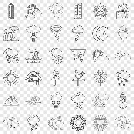 Conjunto de iconos de previsión meteorológica, estilo de contorno Ilustración de vector