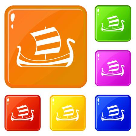 Medieval boat icons set collection vector 6 color isolated on white background