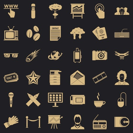 Journalist icons set, simple style Ilustracja