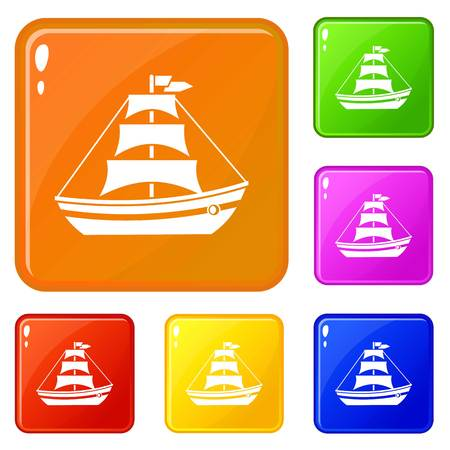 Boat with sails icons set collection vector 6 color isolated on white background 向量圖像