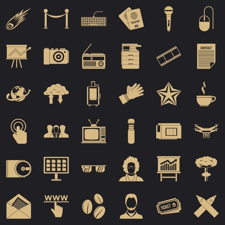 Press icons set, simple style Ilustrace