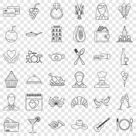 Restaurant icons set, outline style 向量圖像