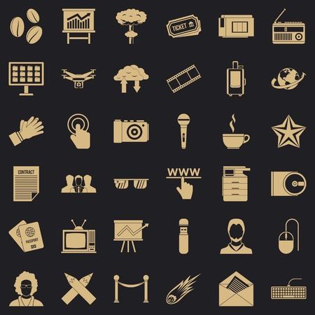 Newspaper icons set, simple style